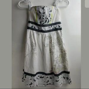 UO KIMCHI BLUE White Floral Boho Strapless Dress